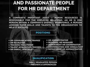 We are hiring passionate people for HR Department